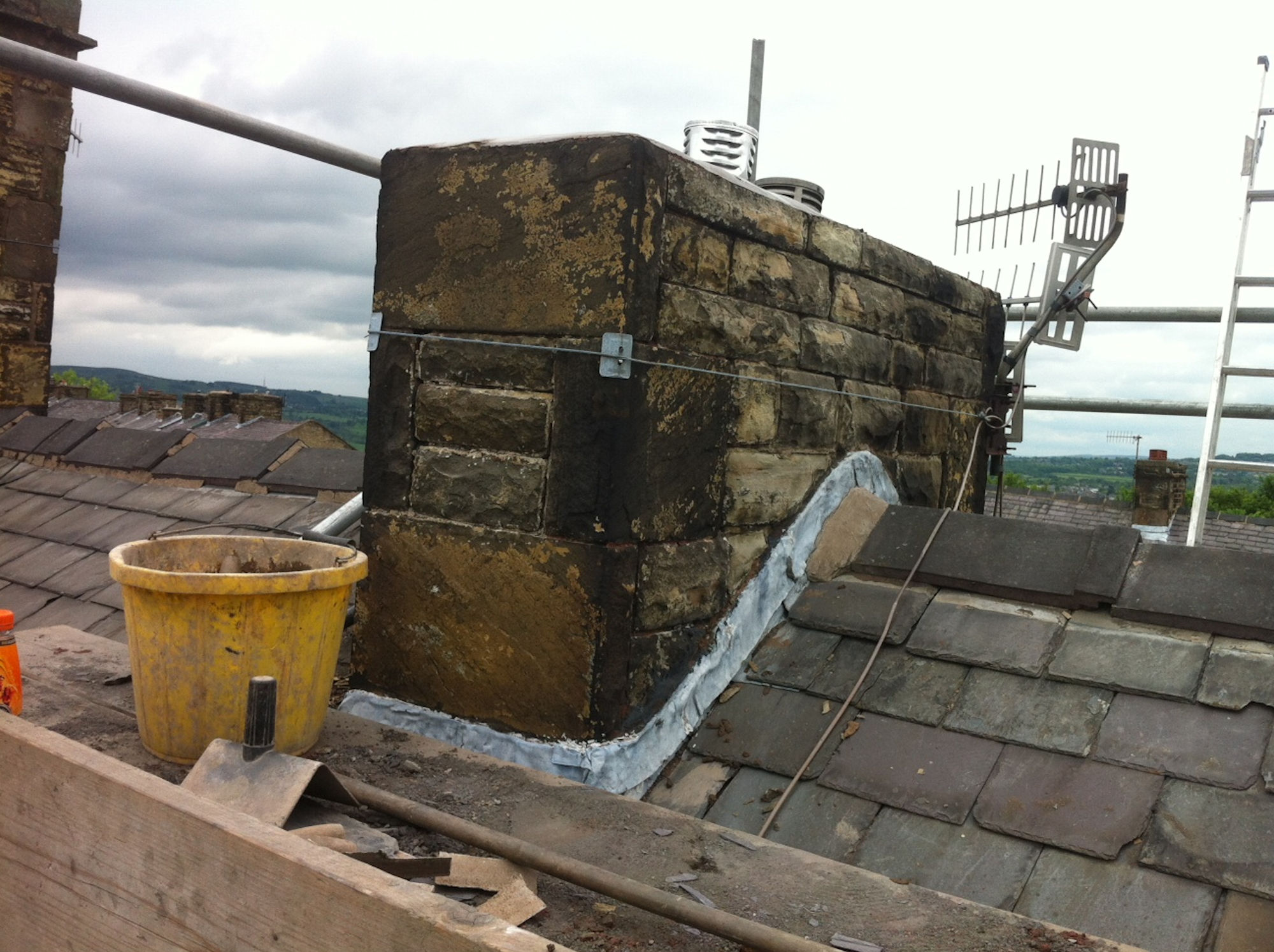 Chimney stack repair on a terraced house in Burnley