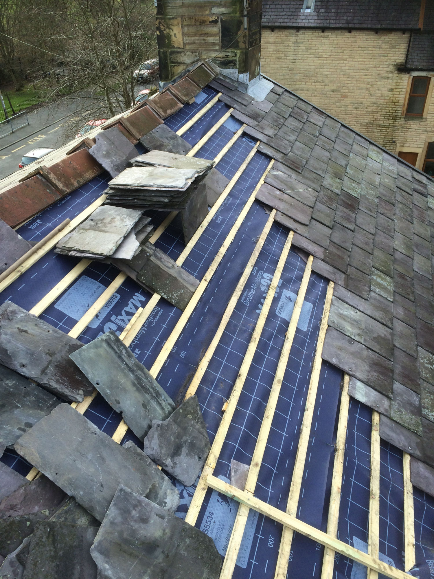 Slate re-roof in Padiham