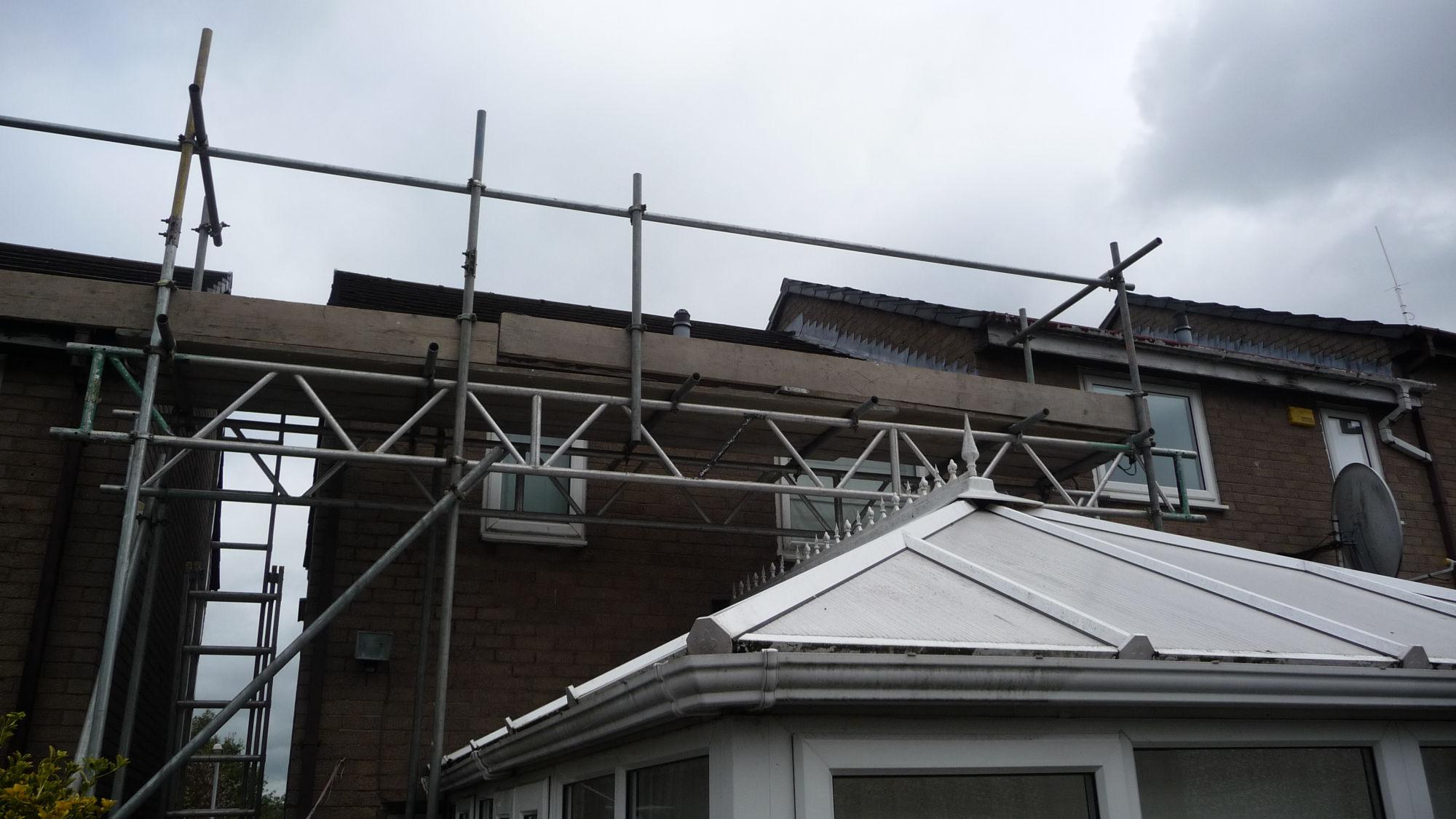 Scaffolding for roof repair in Burnley